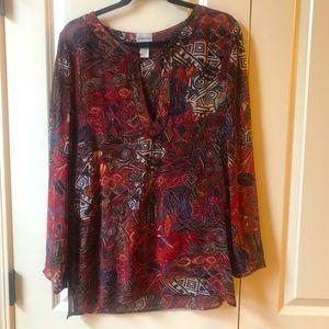EUC Chico's burgundy printed blouse tunic